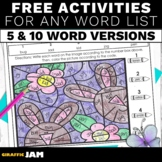 FREEBIE Spring Spelling Activities for ANY Word List for Elementary Students
