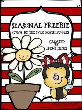FREEBIE Spring & Summer Seasonal Math Printables Color By The Code Puzzles