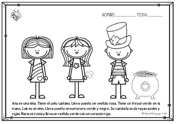 FREEBIE St Patrick's Day San Patricio en Español Spanish reading and coloring