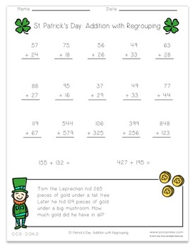 FREEBIE St. Patrick's Day Addition with Regrouping