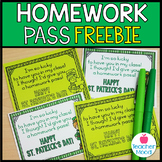 FREEBIE! St. Patrick's Day Homework Pass {shamrock leprechaun} Classroom Fun!