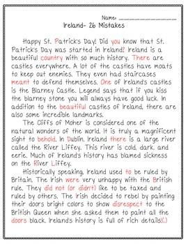FREEBIE St. Patrick's Day Ireland Grammar Practice/ D.O.L.