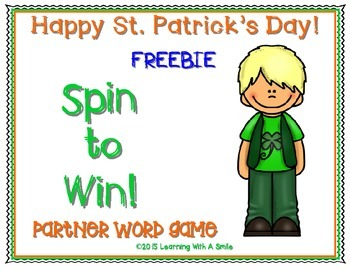 FREEBIE ~ St. Patrick's Day SPIN TO WIN! ~ Partner Word Game