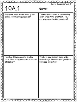 FREEBIE!!!  Standards Based Assessments - 1st Grade 1.OA1