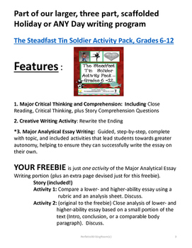 FREEBIE - Steadfast Tin Soldier. Essay Samples for Critical Comparison Gr 6-12