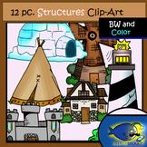Structures Clip-Art Set-6 b&w, 6 Color