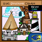 Structures Clip-Art Set-6 b&w, 6 Color