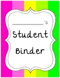 FREEBIE!! Student Binder & Spine Cover