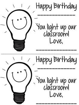 FREEBIE: Student Birthday Treat/Card {Glow Stick}