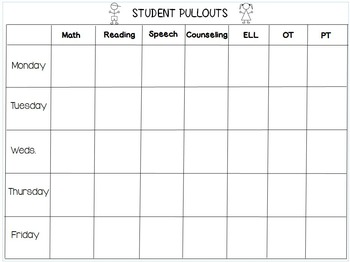 freebie student pullout scheduling sheet by sandra s 2nd grade garden