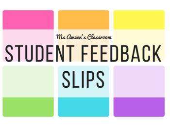 FREEBIE Student Reflection Feedback Slips/Forms - Printer Friendly