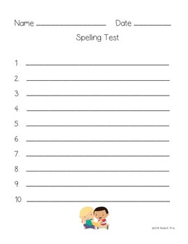 FREEBIE - Student Spelling Papers - Pre-Assessment & Test - 2 Versions Each