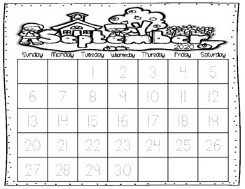 FREEBIE!!! Student monthly calendars (tracing & blank)