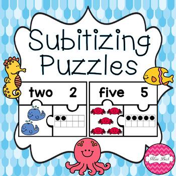 FREEBIE! Subitizing Puzzles- Under the Sea Theme