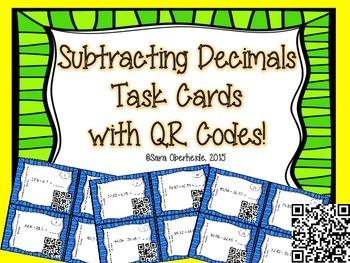 FREEBIE!! Subtracting Decimals Task Cards with QR codes