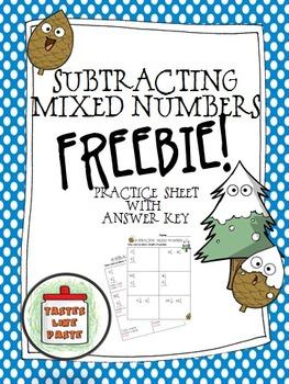 {FREEBIE} Subtracting Mixed Numbers (Unlike Denominators)