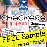 FREEBIE Subtraction Facts Checkers Sample Game MINUS THREES