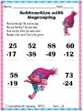 Trolls Subtraction with Regrouping FREEBIE