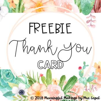 FREEBIE Succulent Thank You Card