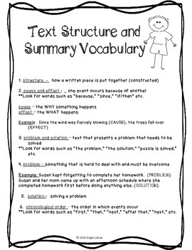 FREEBIE! Summary & Text Structure Vocabulary