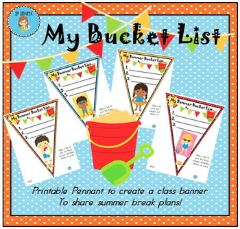 FREEBIE Summer Bucket List Pennant Banner Worksheet
