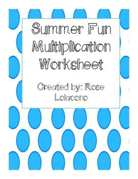 FREEBIE Summer Multiplication Worksheet