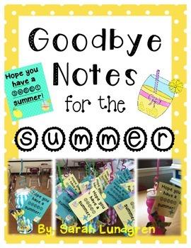 FREEBIE! Summer Notes / Goodbye Notes