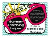 FREEBIE! Summer Planning Helper for Teachers