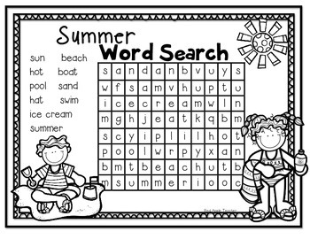FREEBIE--Summer  Word Search for K-2
