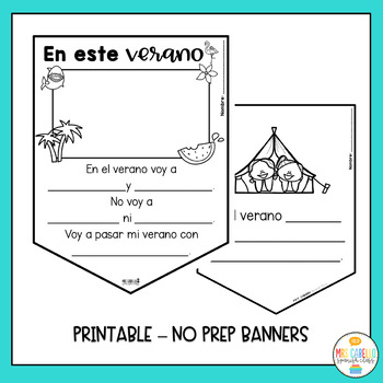 FREEBIE - Summer in Spanish - No Prep Writing Banners