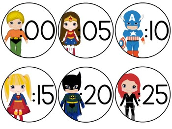 FREEBIE Super Hero Clock Numbers
