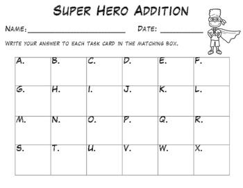 FREEBIE - Addition in 10 - Super Hero Task Cards