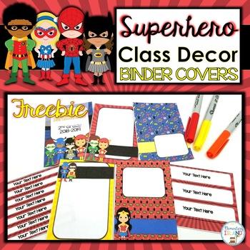 FREEBIE Superhero Classroom Decor Binder Covers EDITABLE