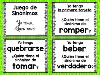 FREEBIE Synonyms, I have...who has? BILINGUAL