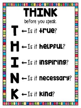 FREEBIE- THINK Before You Speak Poster