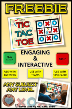 FREEBIE - TIC TAC TOE PowerPoint Game - ALL SUBJECTS ALL TEACHERS