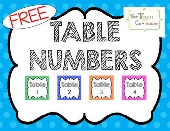 {FREEBIE} Table Numbers