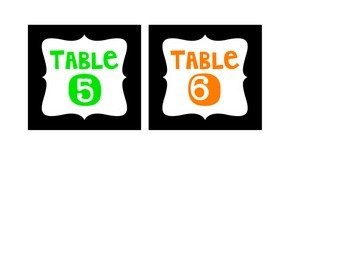 FREEBIE Table Numbers