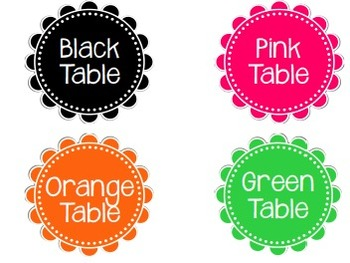 FREEBIE!!! Table Signs in Various Colors smaller sizes
