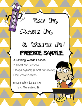 "FREEBIE Tap It, Make It, and Write It Phonics Activity (Short ""o"")"