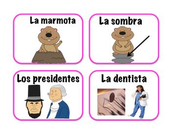 FREEBIE! Tarjetas del febrero vocabulario