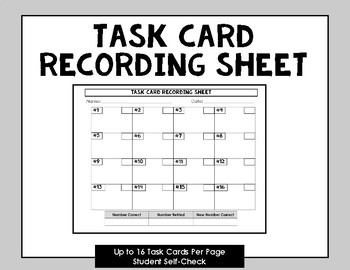 FREEBIE: Task Card Recording Sheet