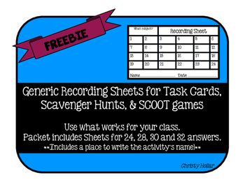 FREEBIE Task Card Scoot Recording Sheet
