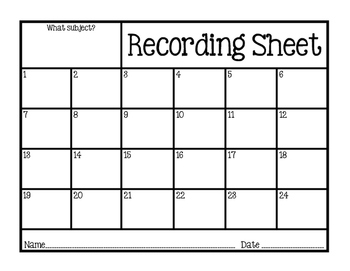 FREEBIE Task Card Scoot Recording Sheet