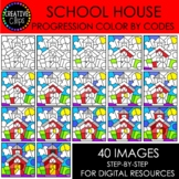 School House Progression Color By Codes {Creative Clips Clipart}