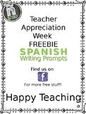 FREEBIE Teacher Appreciation Week - Spanish Writing Prompts - Cartas al maestro