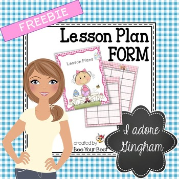 Teacher Binder SAMPLE - GINGHAM Lesson Plan FORM