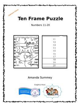 FREEBIE! Ten-Frame Numbers 11-20 Halloween Puzzle