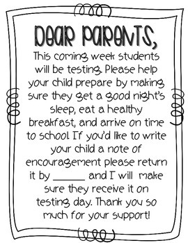FREEBIE Testing Info for Parents by Sharp in Second | TpT