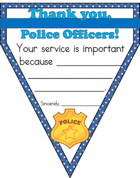 """FREEBIE """"Thank You, Police Officers!"""" Pennant Banner Worksheet"""
